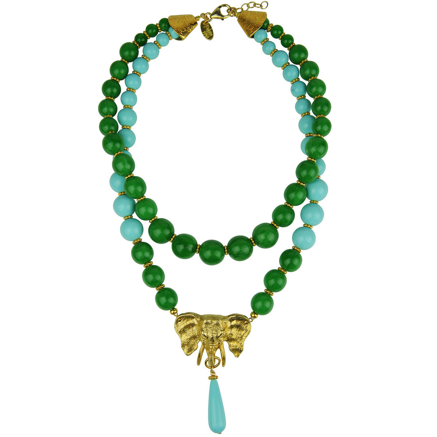 katerina psoma ida green and turquoise short statement necklace