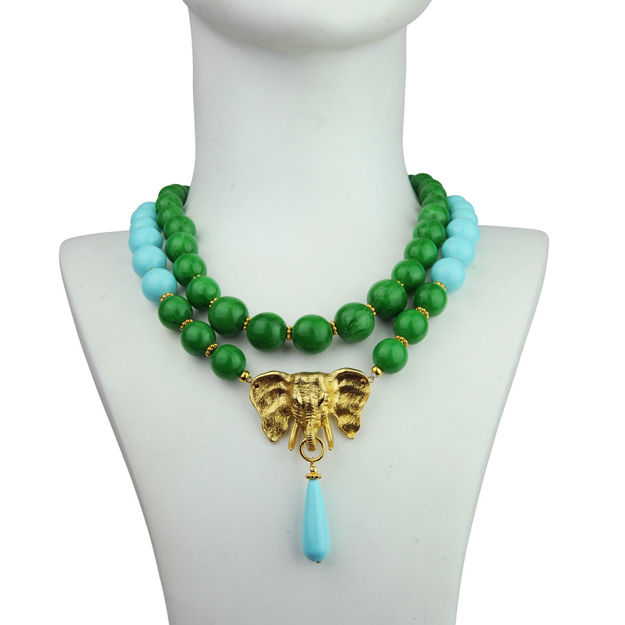 katerina psoma ida green and turquoise short statement necklace with vintage inspiration