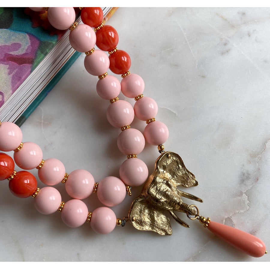 katerinapsoma pink and orange short statement necklace close up