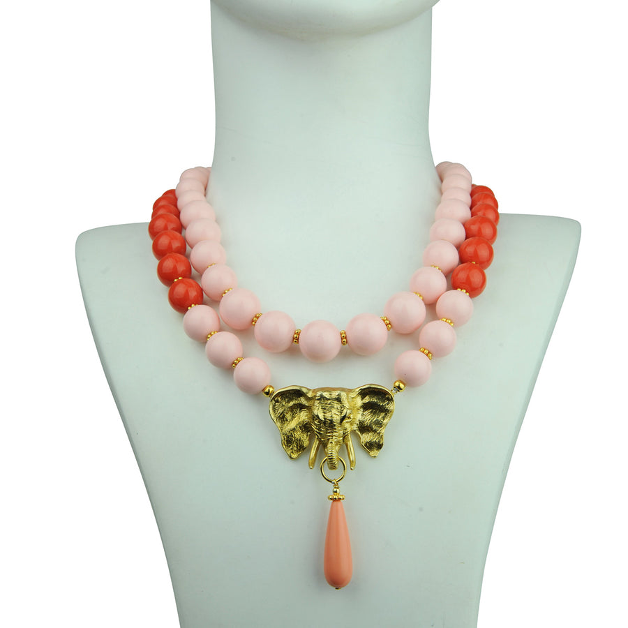 katerinapsoma pink and orange bead short statement necklace