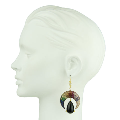 Dangle Earrings with Crystals and Black Drops detail katerina psoma