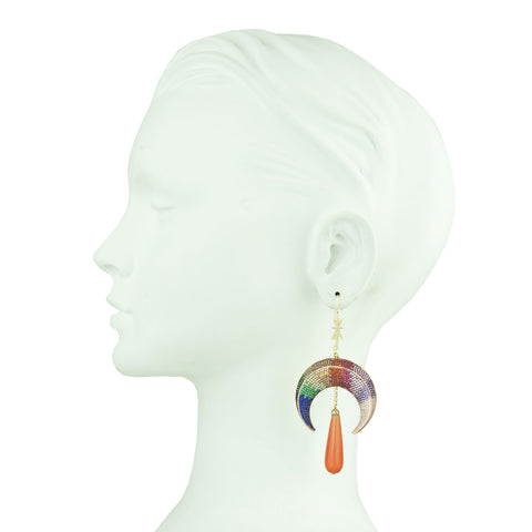 Earrings with colored zirconia and drops
