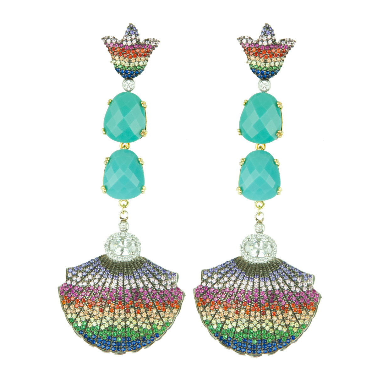 Ishtar Dangle Earrings with Turquoise and Multicolored Crystals