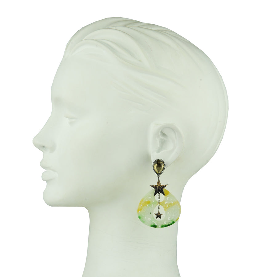 Jade Dangle Earrings with Crystal Studs and Stars katerina psoma