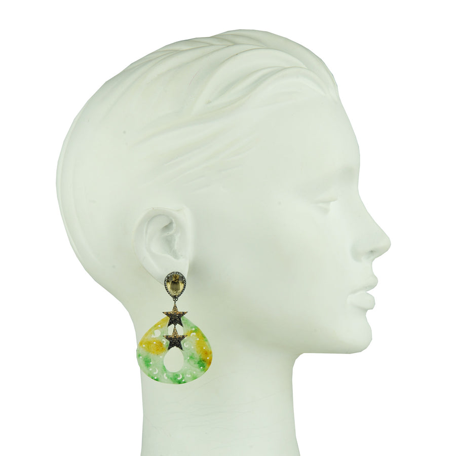 Statement Jade Dangle Earrings with Crystal Studs and Stars