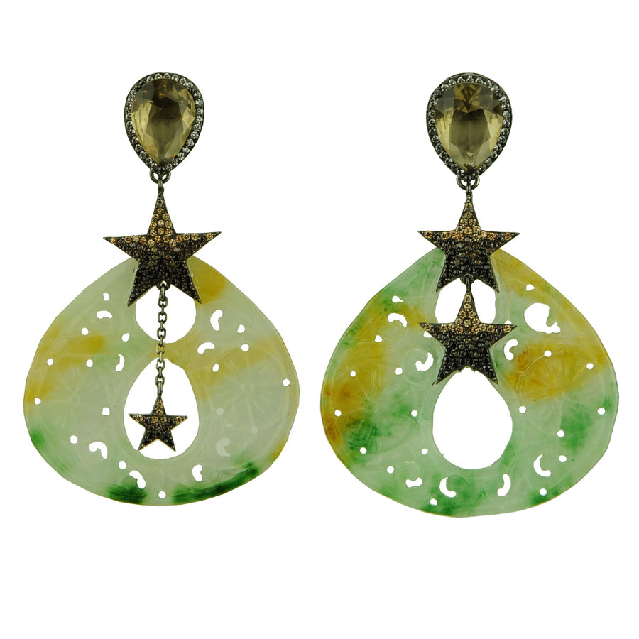 Jade Dangle Earrings with Crystal Studs and Stars