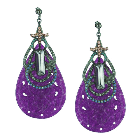 Aurora Purple Jade and Black Plated Metal Dangle Earrings