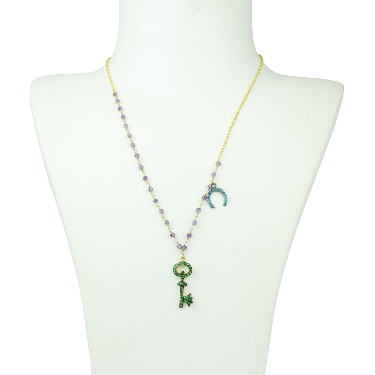 Eugenia Zirconia Elements and Amethyst Short Necklace