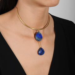 Selene Gold Plated 925 Sterling Silver Collar Necklace with Lapis Lazuli Drops