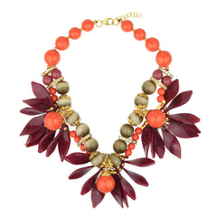 Coral and Purple Leaf Flower Short Necklace