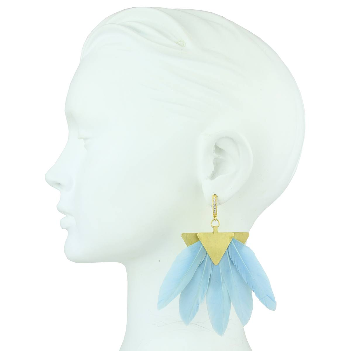 silver earring with light blue feather katerina psoma