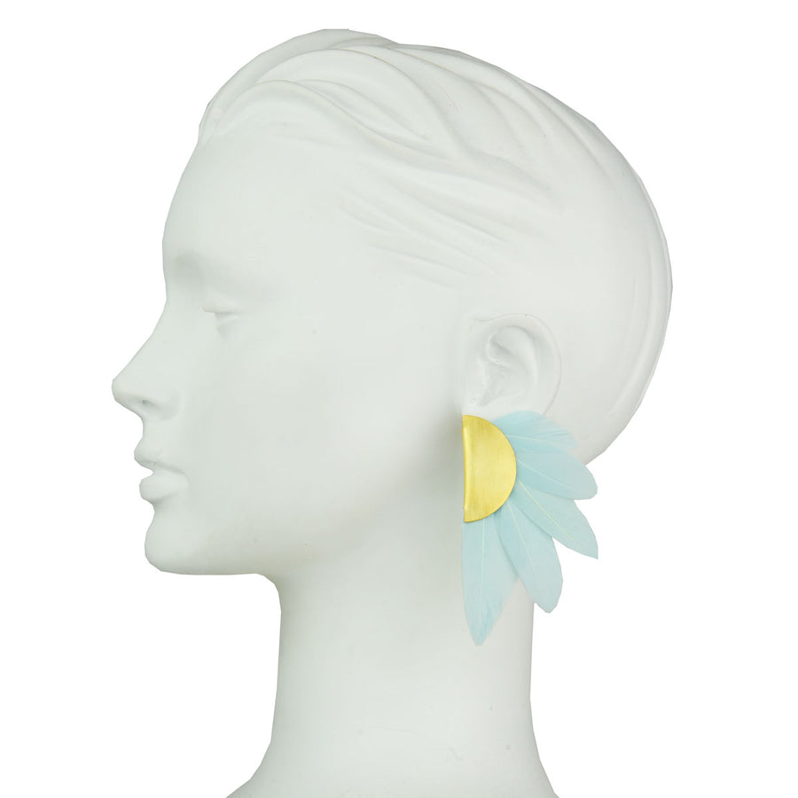 gold plated clip earrings with aqua marine feathers