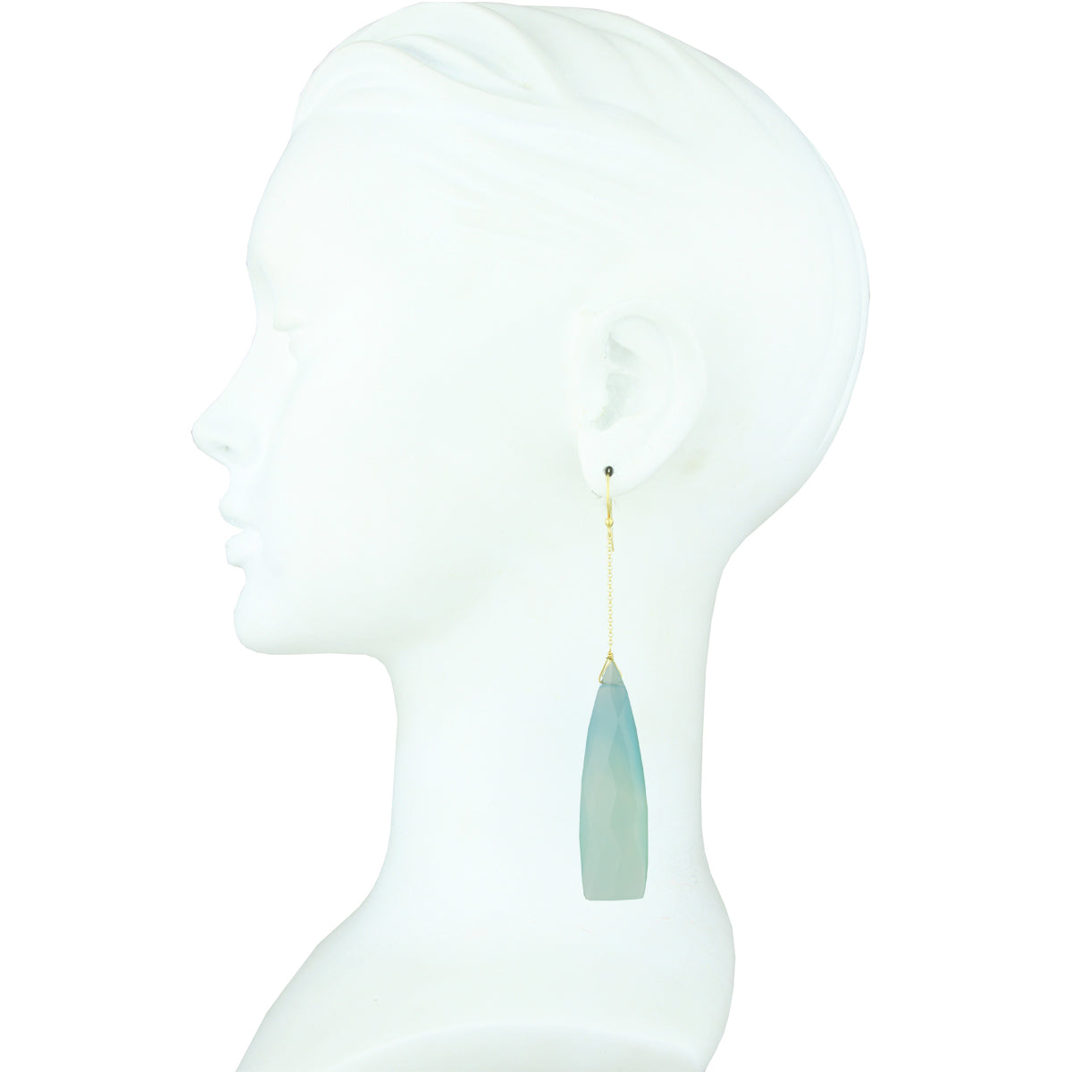 Selene Light Blue Agate Drop Earrings
