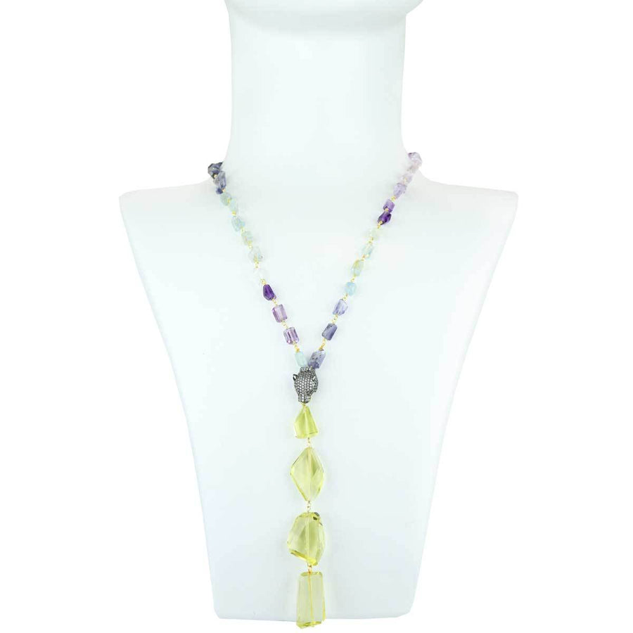Necklace with Semiprecious stones and Lime Quartz bust katerina psoma