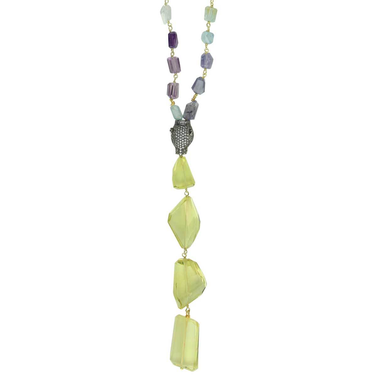 Aurora Necklace with Semiprecious stones and Lime Quartz