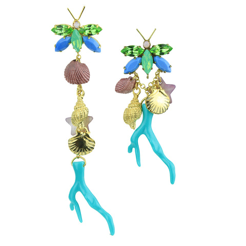 Lola Sea Charm and Turquoise Resin Coral Earrings