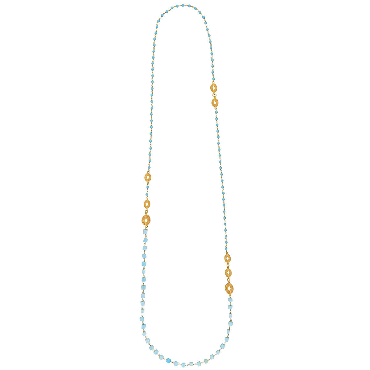 Long Necklace with Apatite and Turquoise Beads
