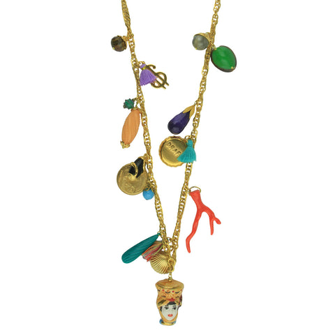 Angelica Long Chain Necklace With Charms and Sicilian Ceramic