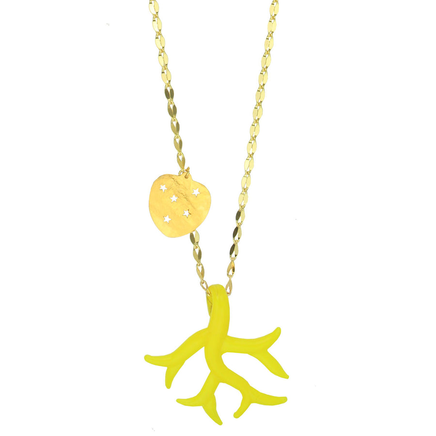 Yellow Murano Pendant with Gold Plated Chain