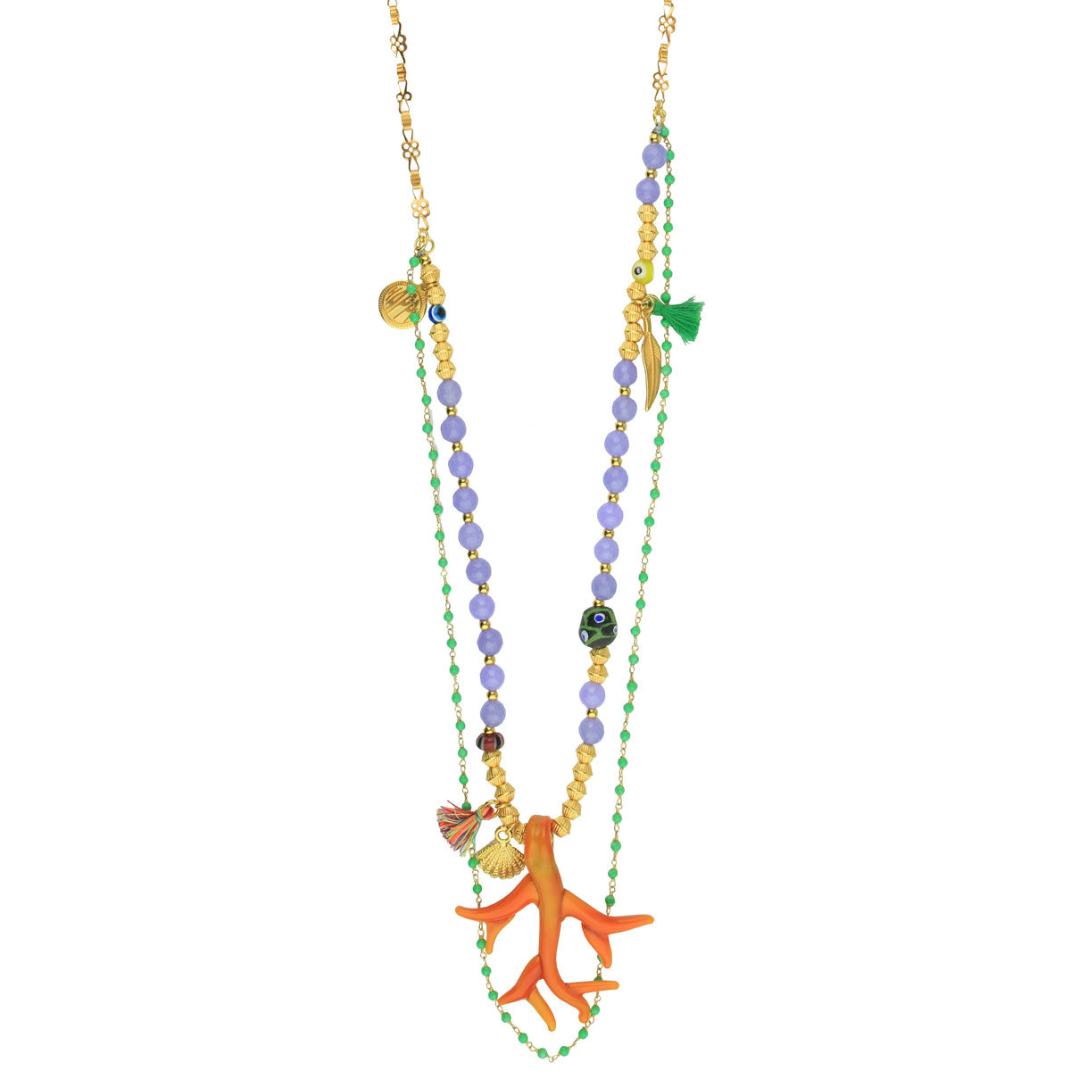 Orange Murano Pendant Long Necklace With Charms and Semiprecious Stones