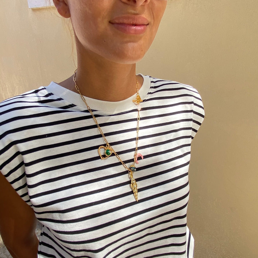 Katerina Psoma Chain Necklace with Shell and Charms boho style
