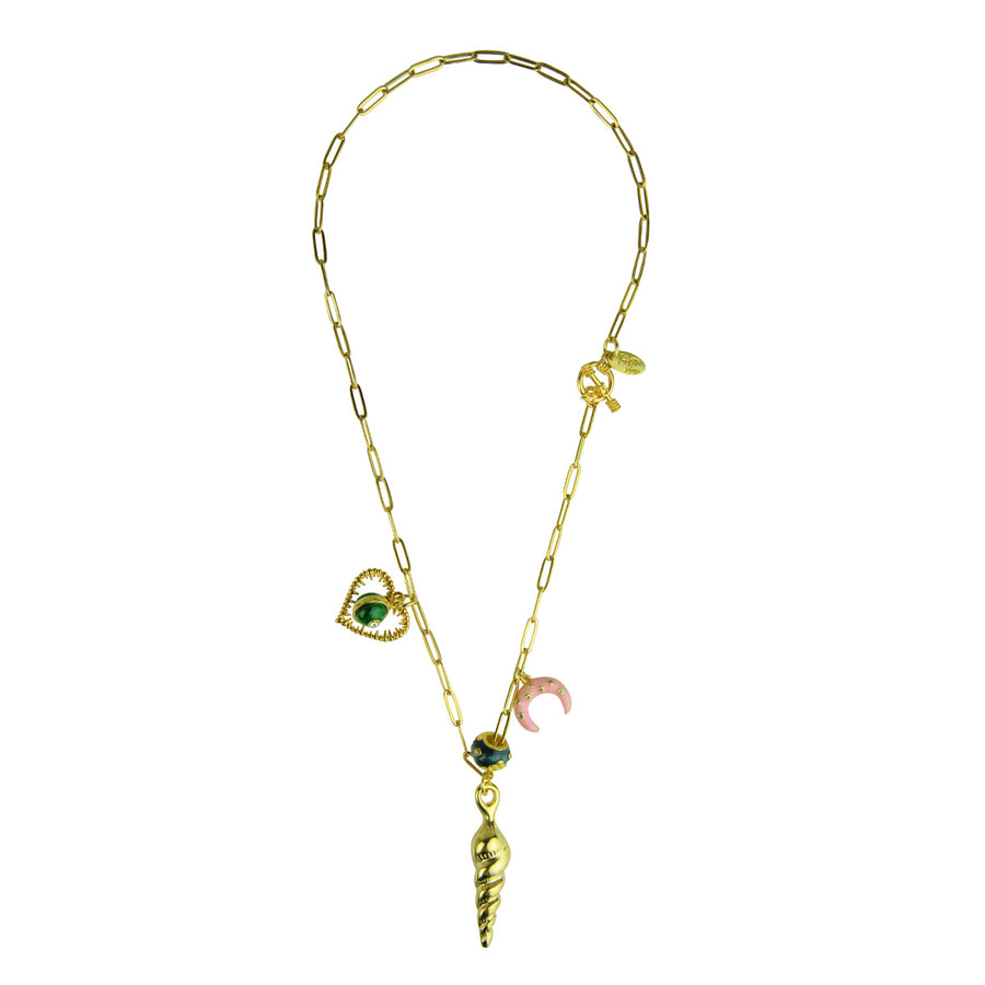 Katerina Psoma Chain Necklace with Shell and Charms costume jewelry