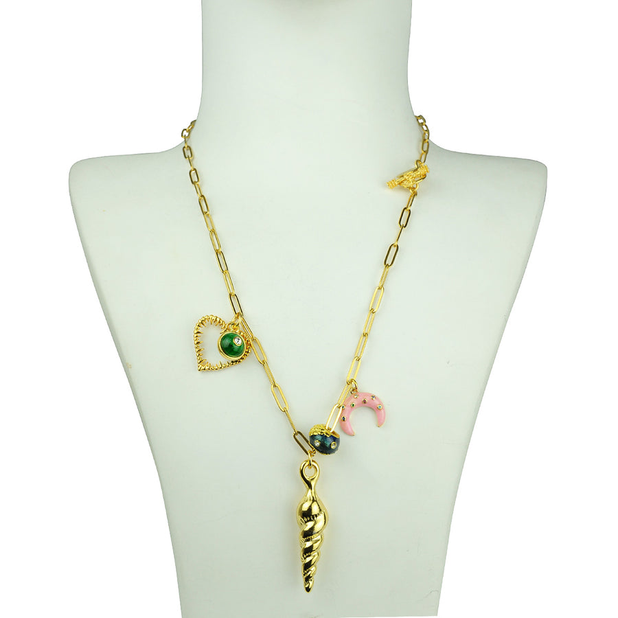 Katerina Psoma Chain Necklace with Shell and Charms fashion accessory