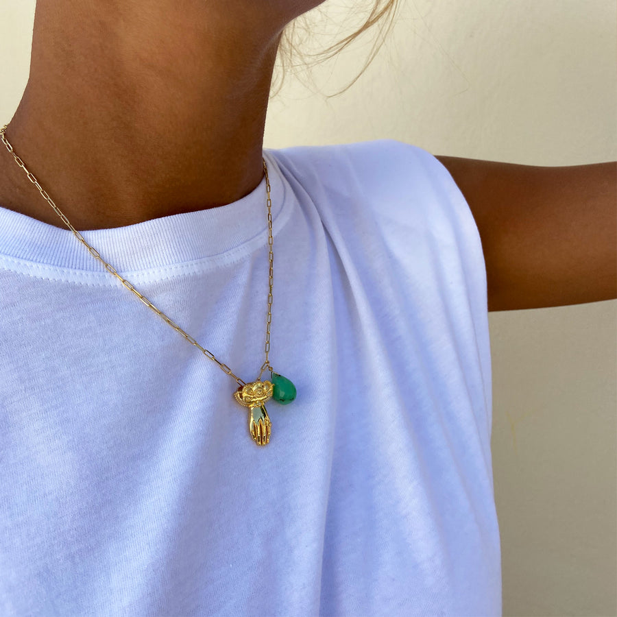 Katerina Psoma Charm and Chrysoprase Necklace boho