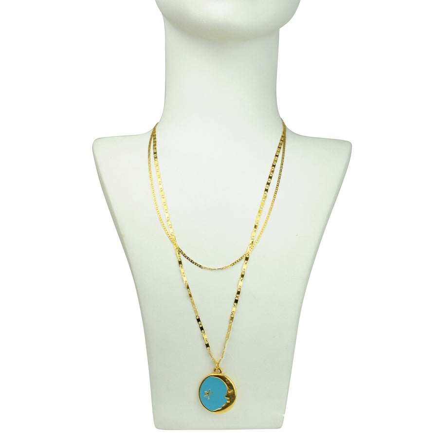 gold plated medallion Turquoise Pendant Necklace Katerina Psoma