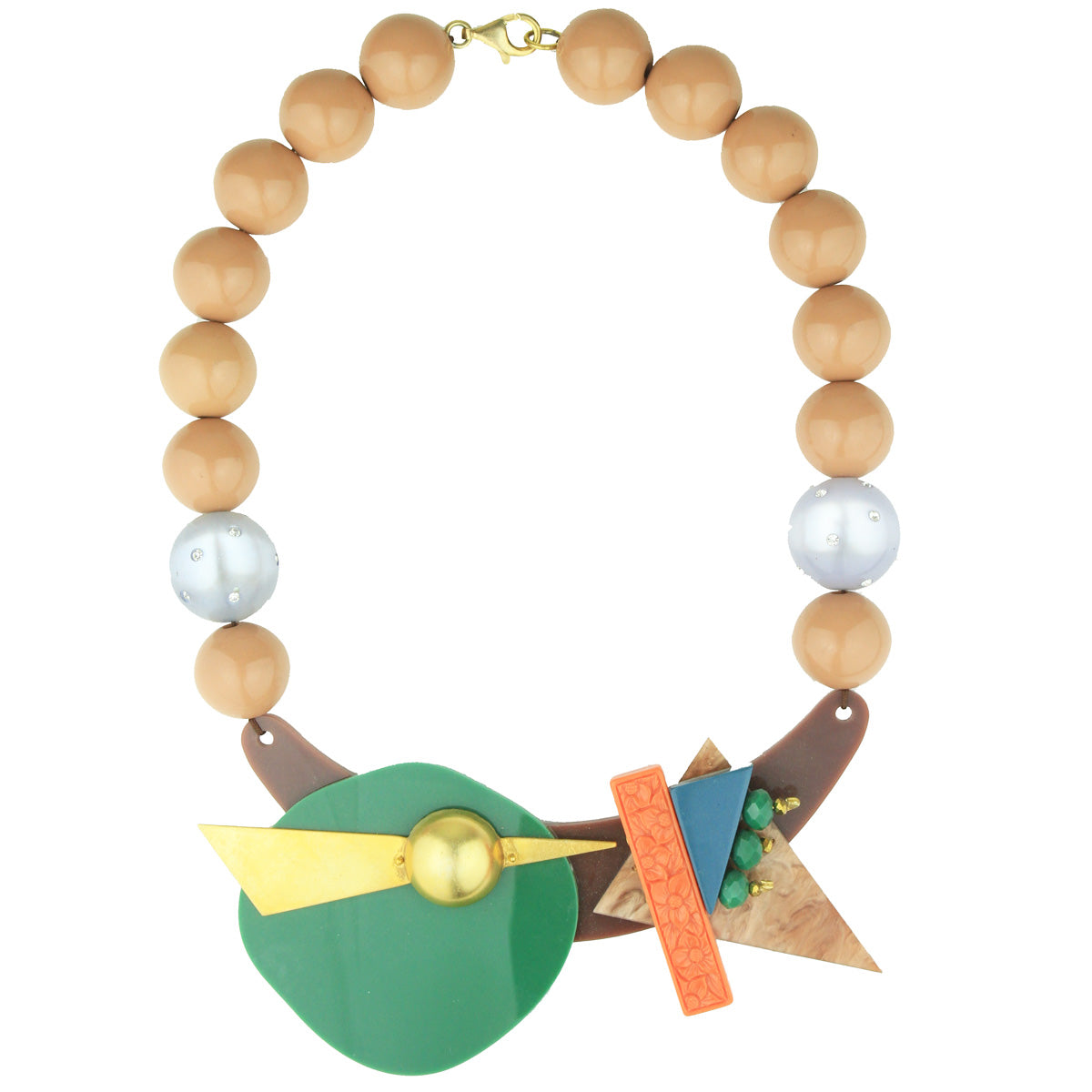 Memphis Resin and Acrylic Multicolour Bib Necklace