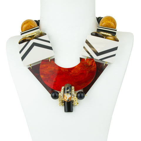 Memphis Resin and Acrylic Statement Necklace with Onyx