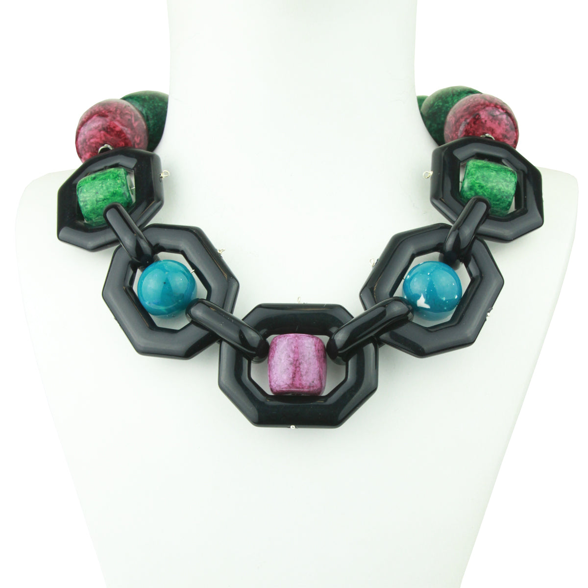 Memphis Acrylic Statement Necklace with Green and Purple Beads