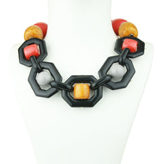 Memphis Acrylic Statement Necklace with Orange and Yellow Beads