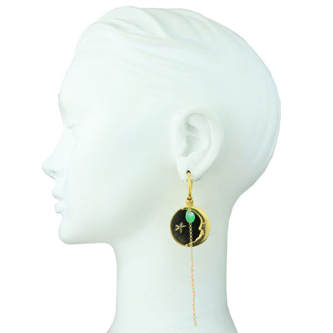 Iris Mismatched Hoops with Charms and Chrysoprase Drop