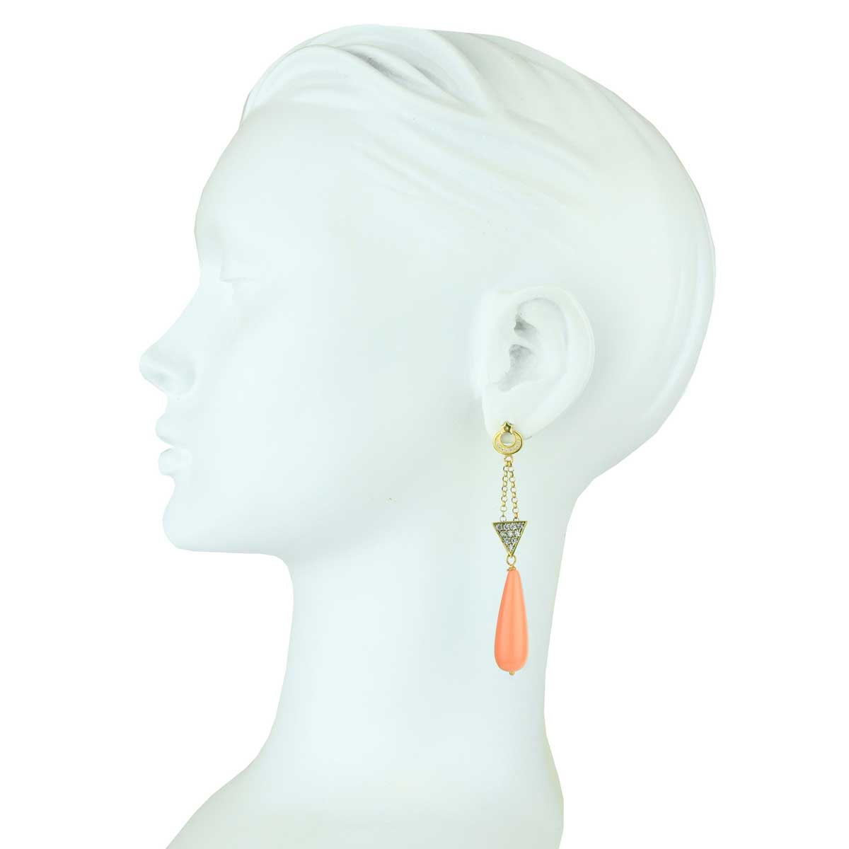 Aurora Gold Plated 925 Sterling Silver Crystals Earrings with Coral Drops