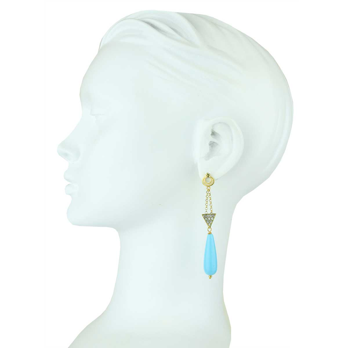 Aurora Gold Plated 925 Sterling Silver Crystals Earrings with Turquoise Drops