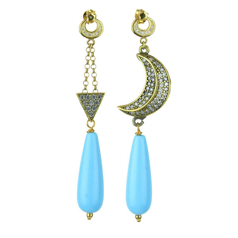 c0b3d6f8b33 Aurora Gold Plated 925 Sterling Silver Crystals Earrings with Turquoise  Drops