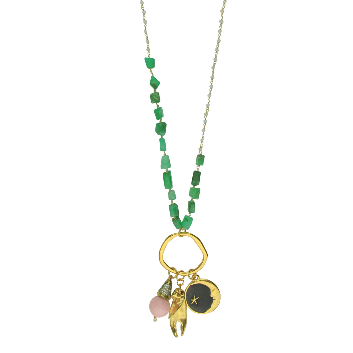 Aurora Chrysoprase Long Necklace with Gold Plated Charms