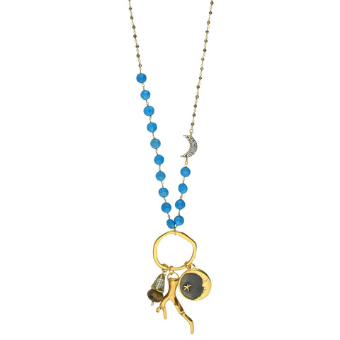 8f2637be0cb Aurora Howlite Long Necklace with Gold Plated Charms