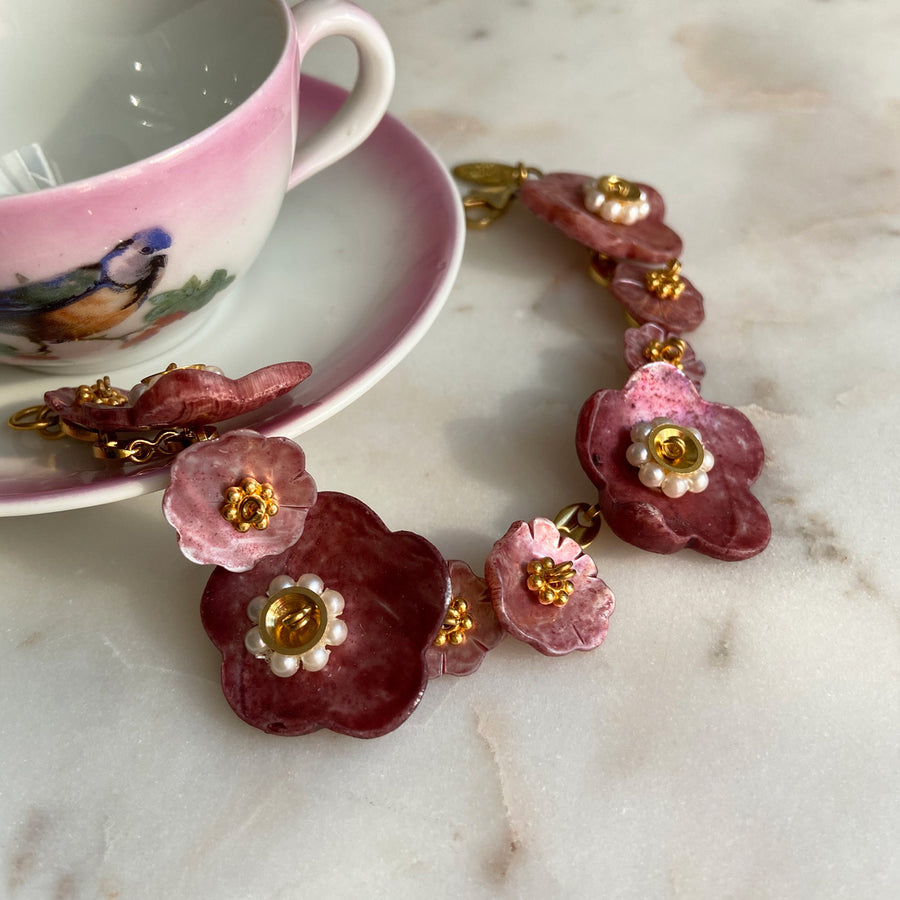 Katerina psoma mother of pearl red flower bracelet photo