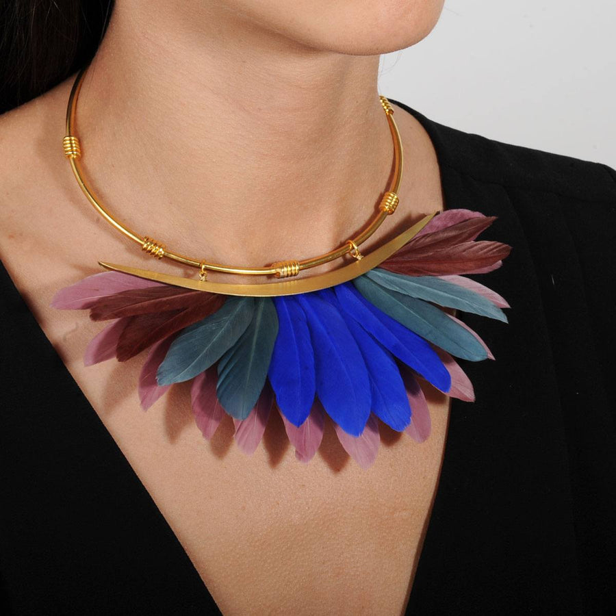 multicolor feather short necklace KATERINA PSOMA