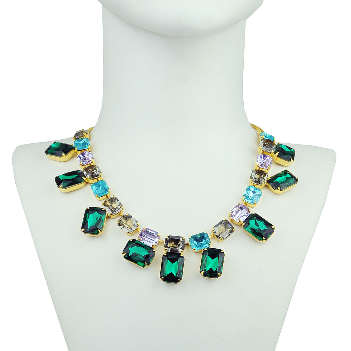 multicolored crystal statement short necklace katerina  psoma detail