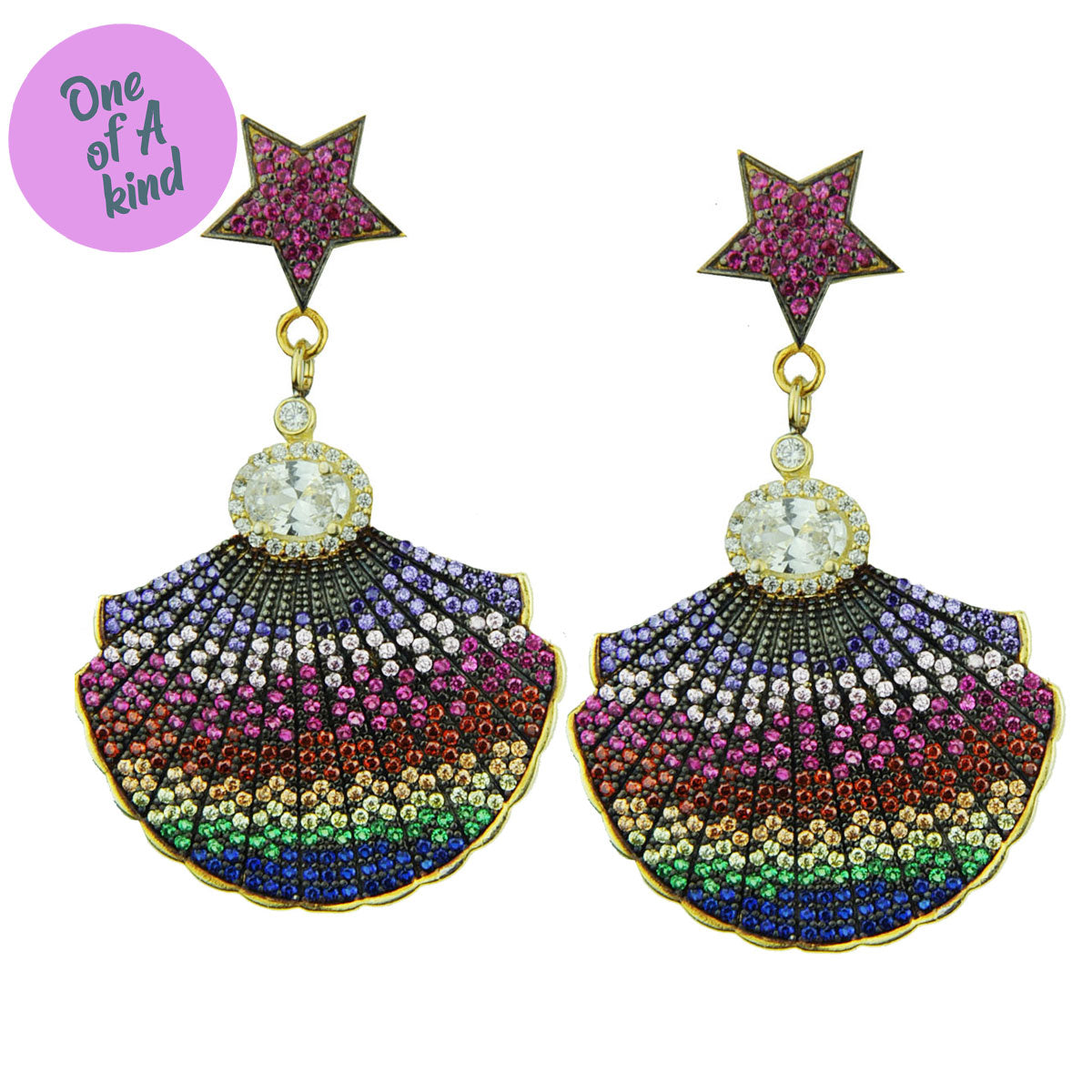 Ishtar Dangle Earrings with Multicolor Crystals