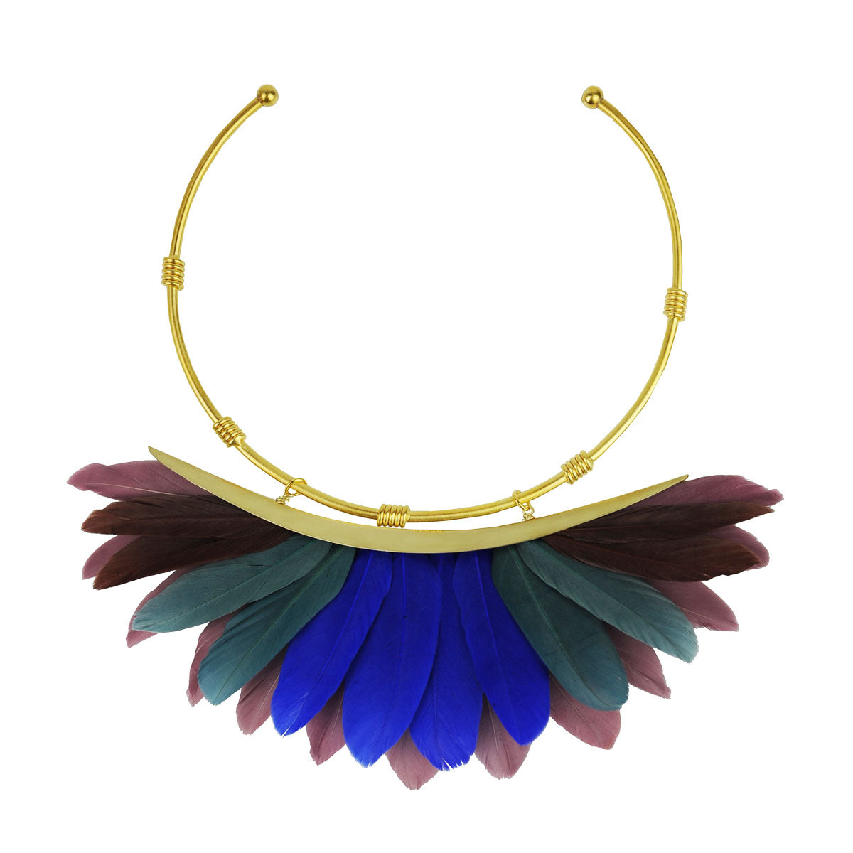 multicolor feather collar necklace katerina psoma