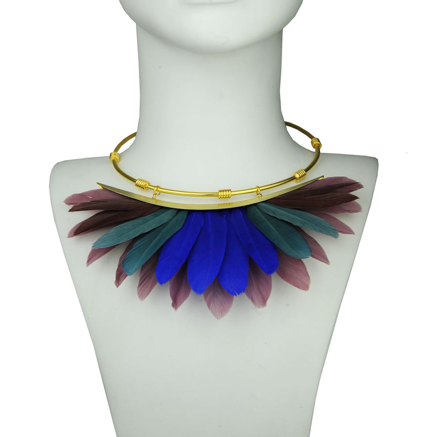multicolor feather collar bust