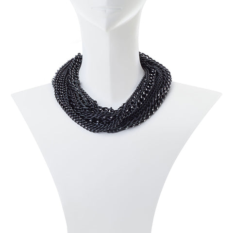 Erica Multi Strand Black Chain Necklace