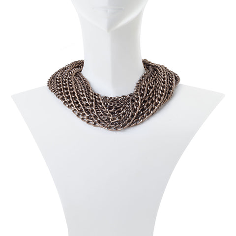 Erica Multi Strand  Bronze Chain Necklace
