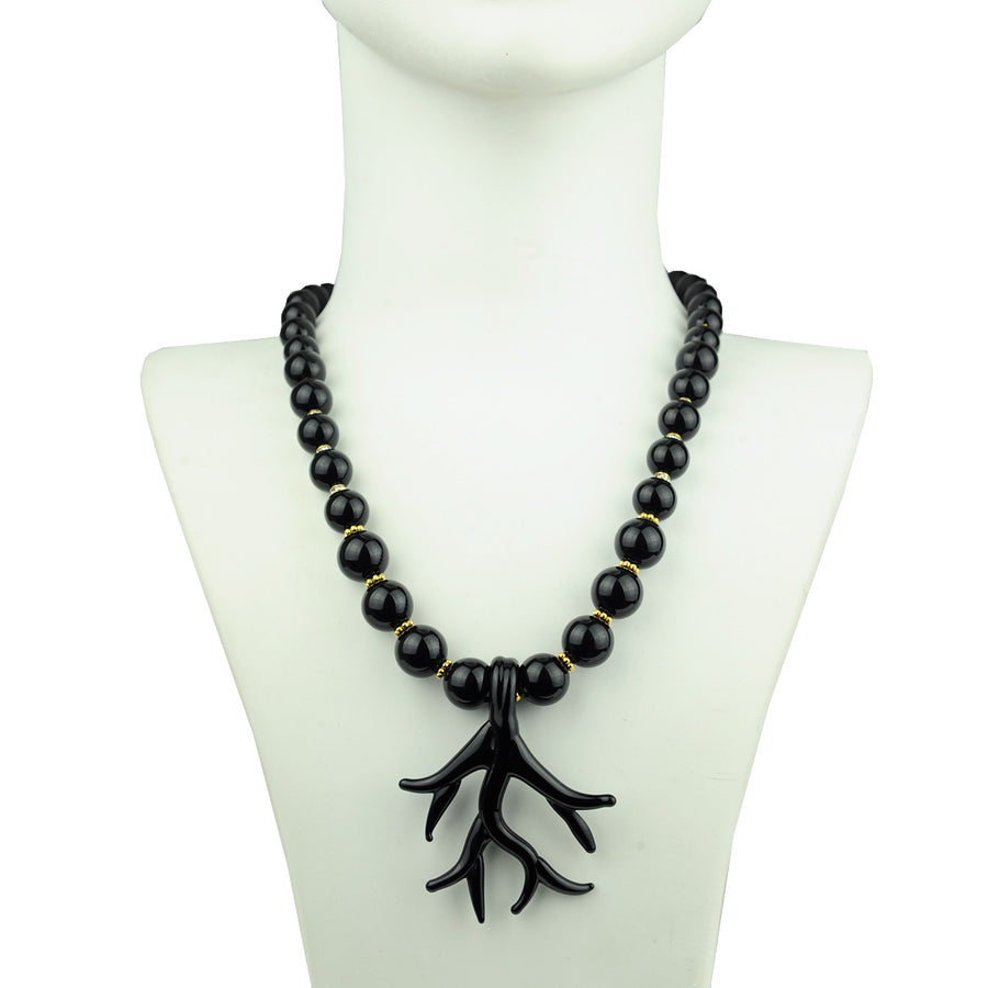 Katerina Psoma Murano Necklace with Onyx semiprecious stones handmade jewelry
