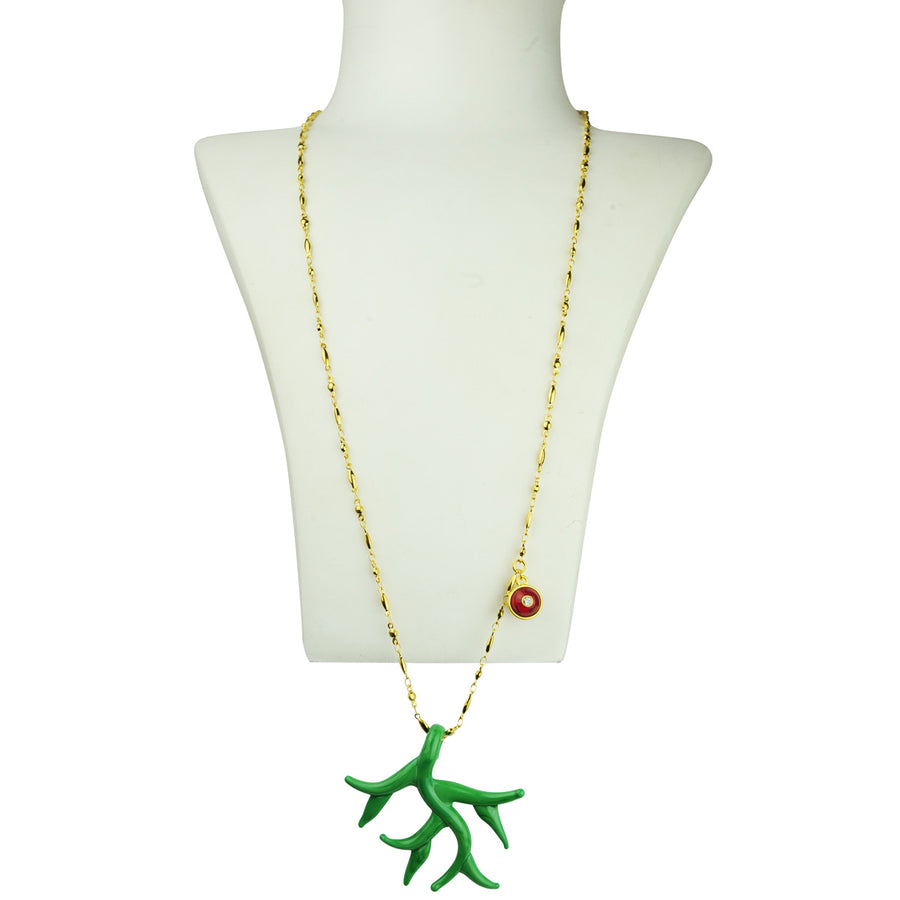 Green Murano coral chain pendant necklace katerina psoma detail