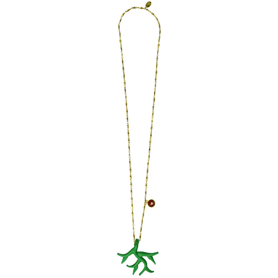 Gold plated Green Murano coral chain pendant necklace katerina psoma